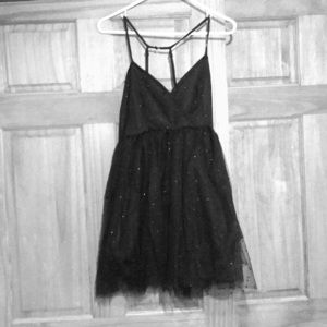 Short black polka-dot mesh homecoming dress